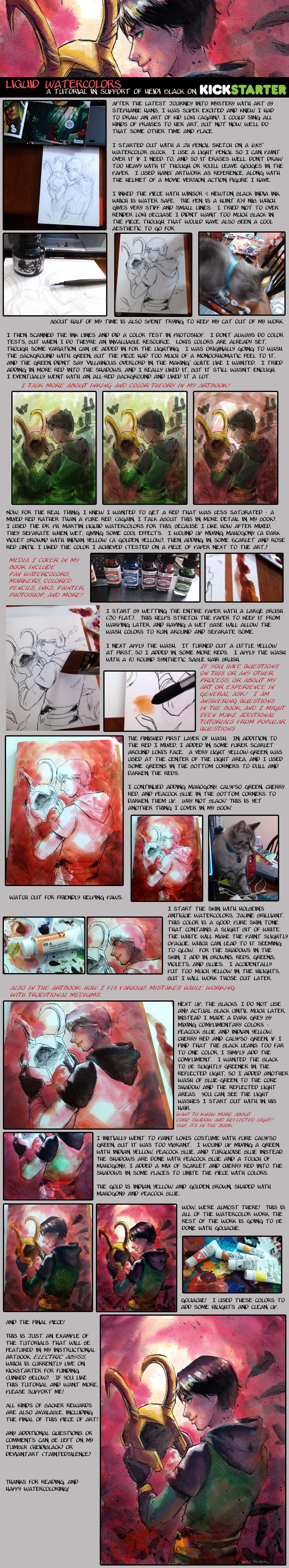 Kid Loki - liquid watercolor tutorial by taintedsilence