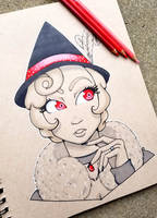 +Inktober Day 5 - Socialite Witch+ by madhouse-arts