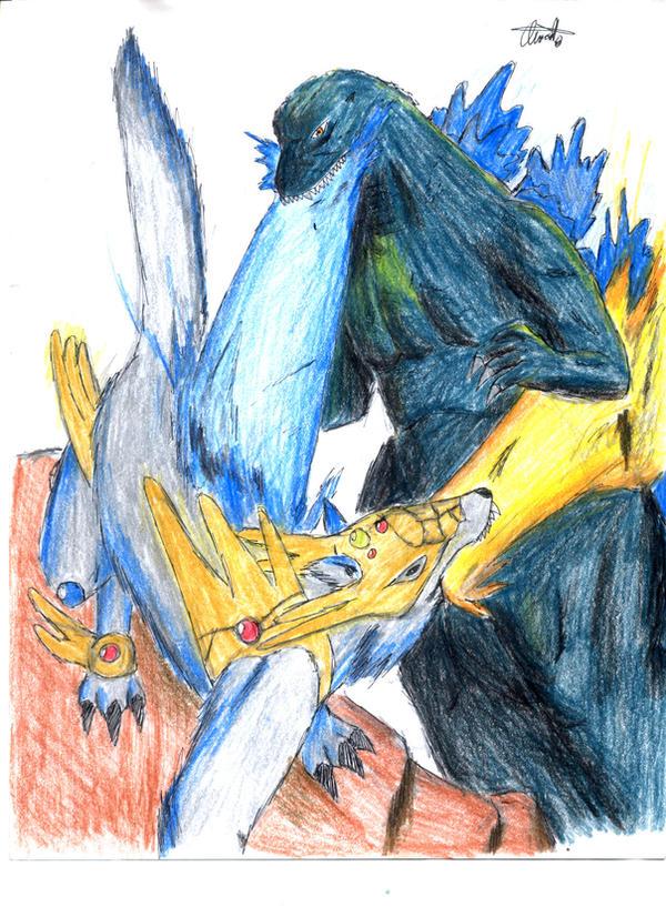 Kaijinu vs Godzilla by hewhowalksdeath