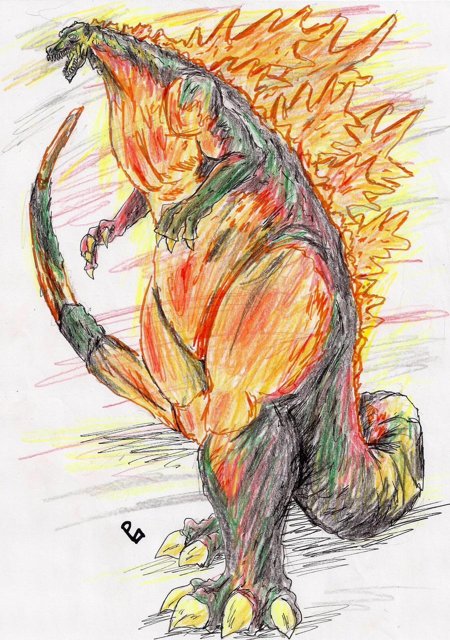 Burning Godzilla by hewhowalksdeath