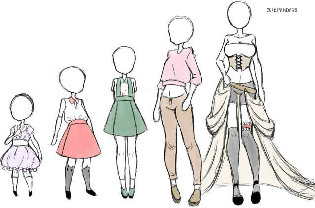 Mary's Clothing Designs (youngest to oldest) by cutepanda88