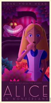 Alice in Wonderland Art Deco poster