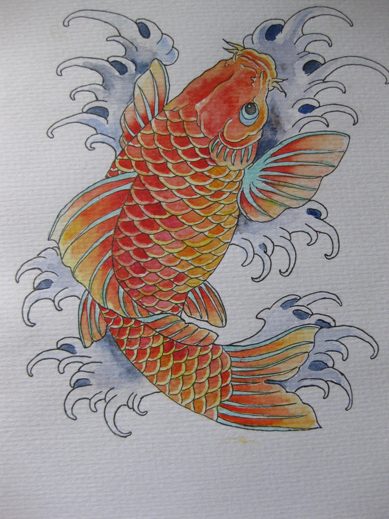 Koi tattoo design by colouredpolo on deviantart for Japanese koi design