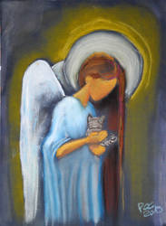 Angel with Kitten by WiorkaEG