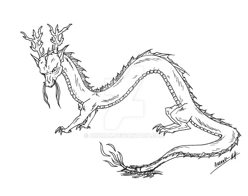 chinese type dragon sketch by ardnak
