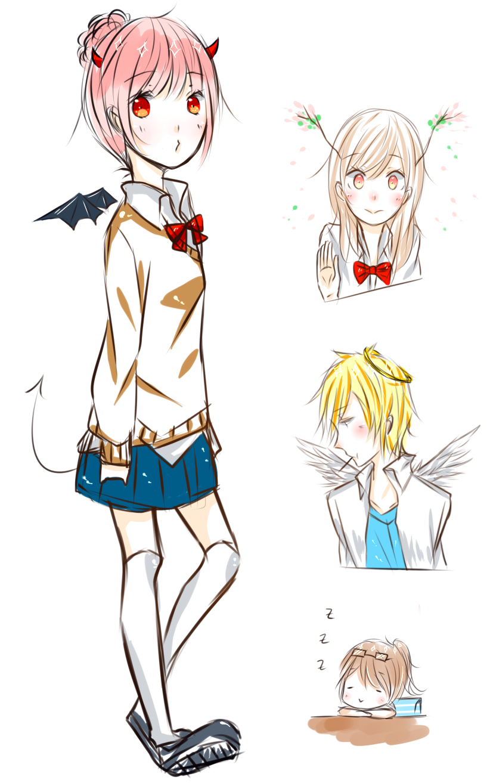 Anime devil boy and angel girl