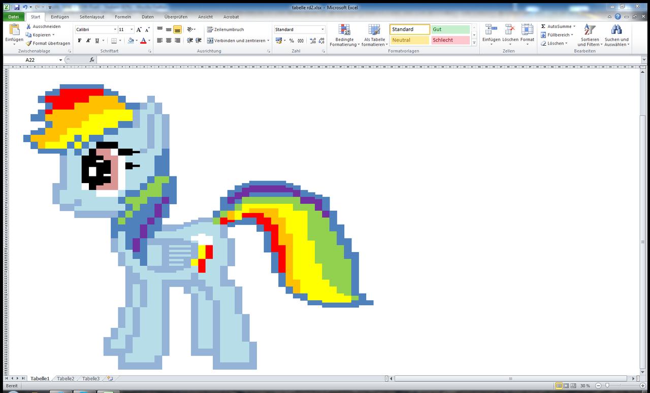 Pixel art Rainbow dash / MS Excel by Bumskuchen on DeviantArt