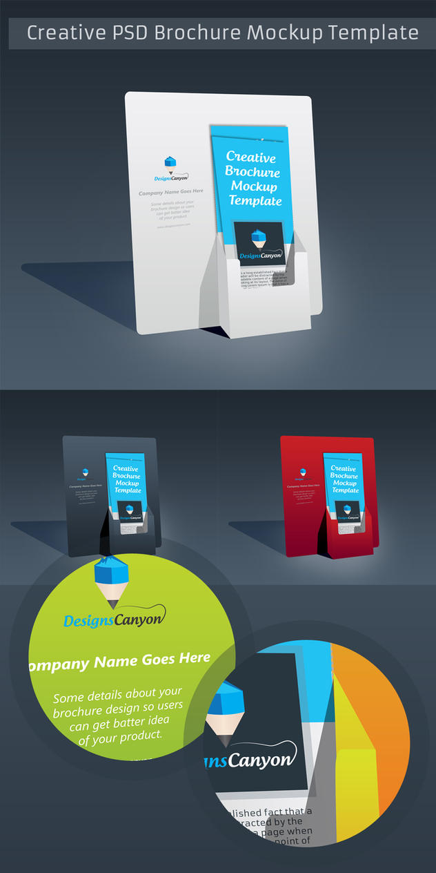 psd brochure holder mockup template free download by designscanyon