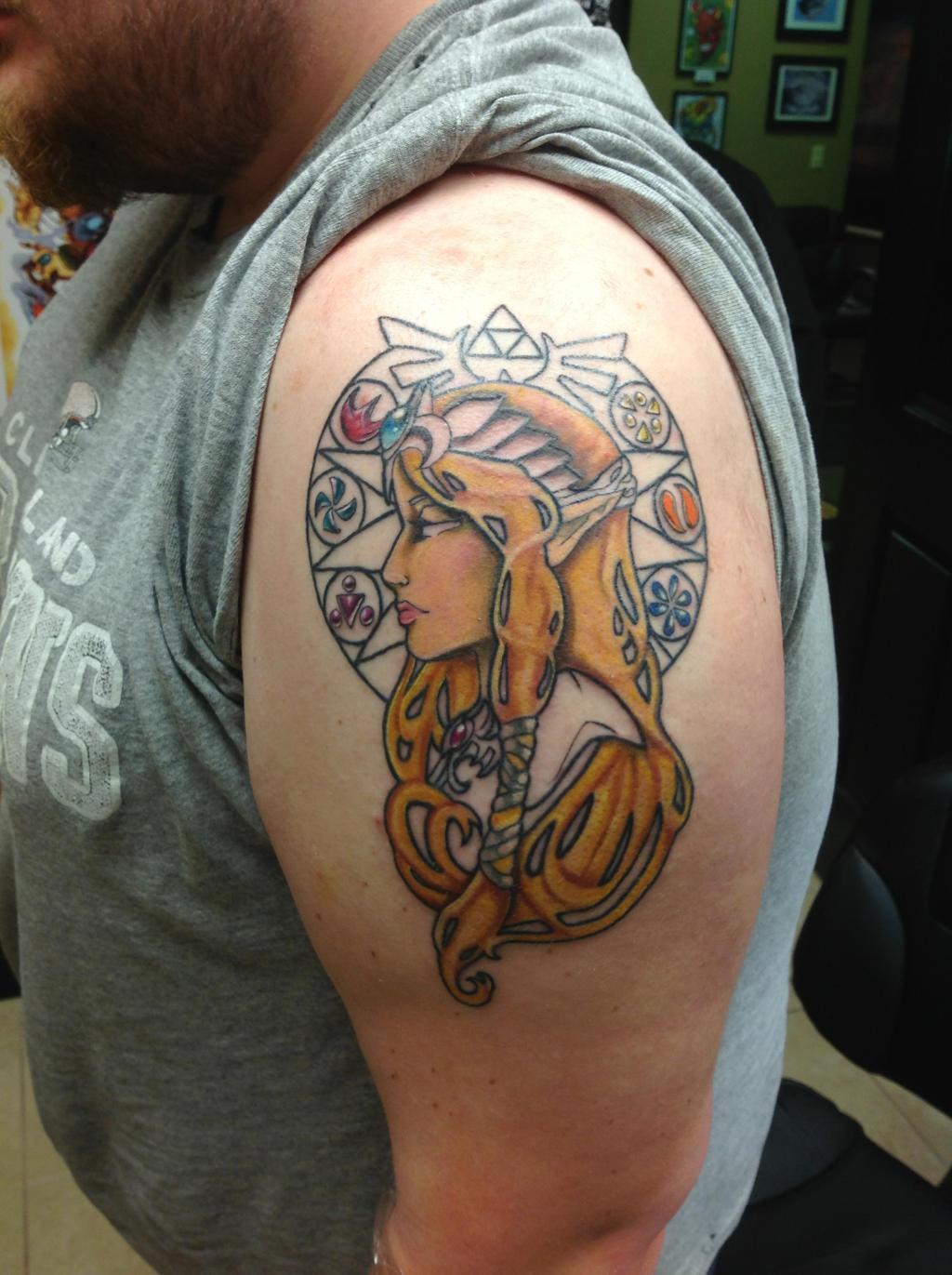 Art Nouveau Tattoo Design By Tegan Ray: Princess Zelda Art Nouveau Style Tattoo By