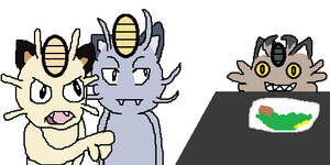 Meowth yelling at Meowth