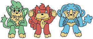 Pokemon reimagine- Elemental Monkeys
