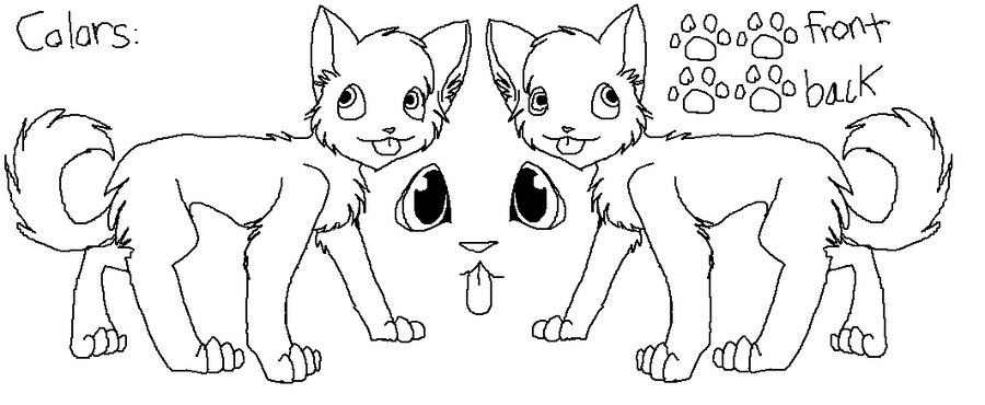 Lineart Ref Sheet-Cat Standing by pSarahdactyls