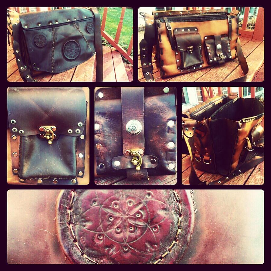 Leather laptop satchel by JoshSkaarup