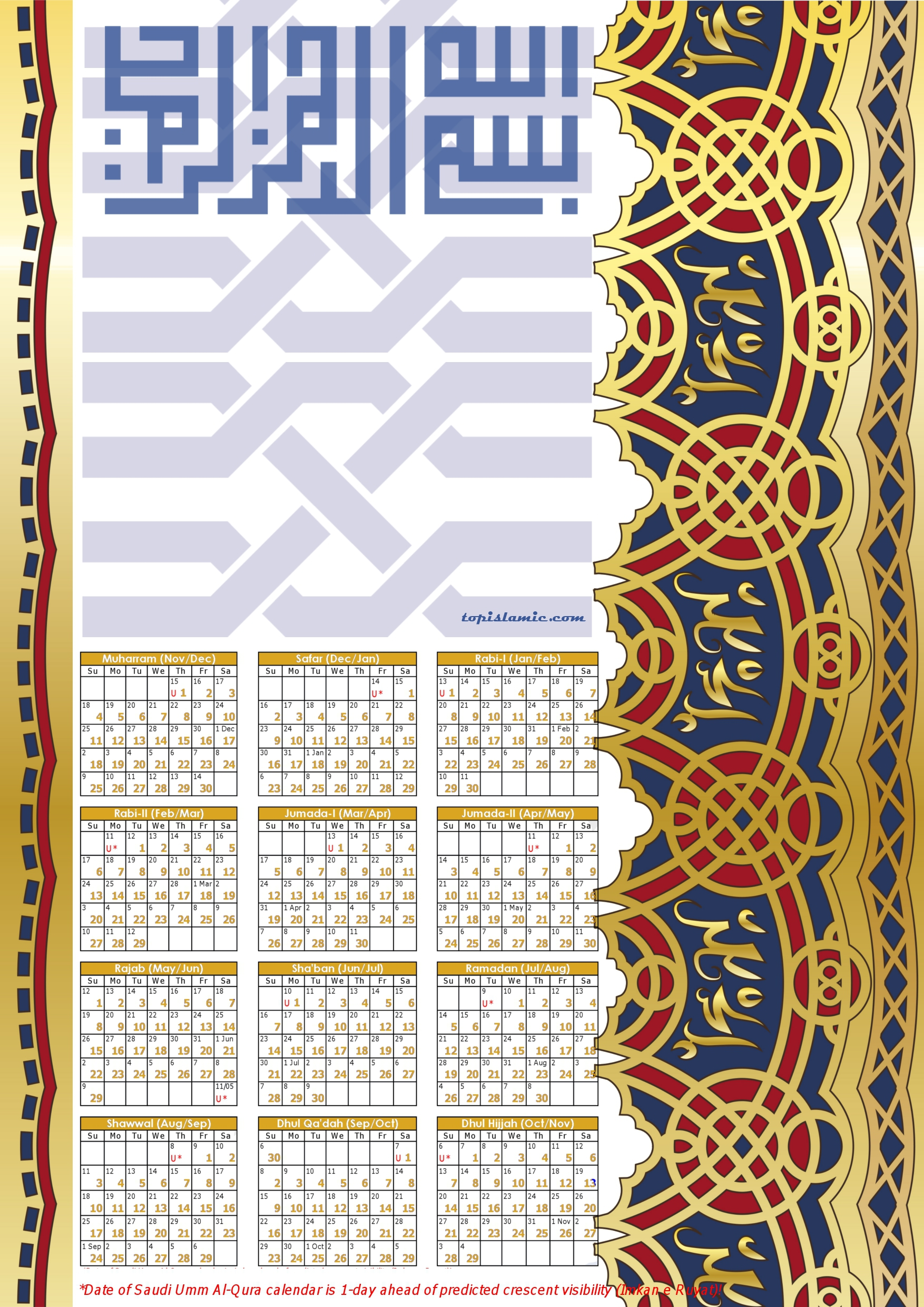 image of hijri calendar gold