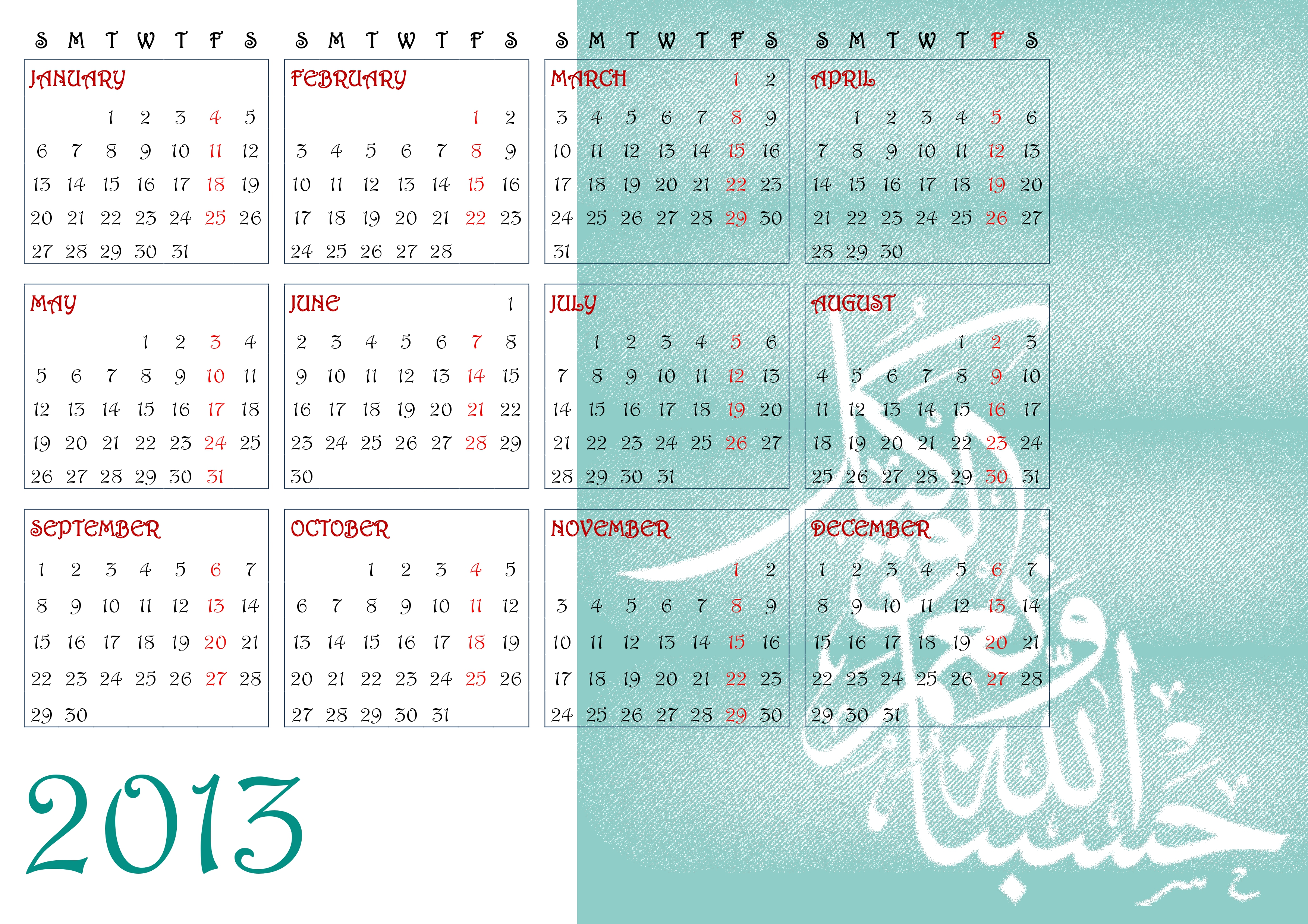 10 Exceptional Islamic Calendar 2013 To Download And Print Yearly