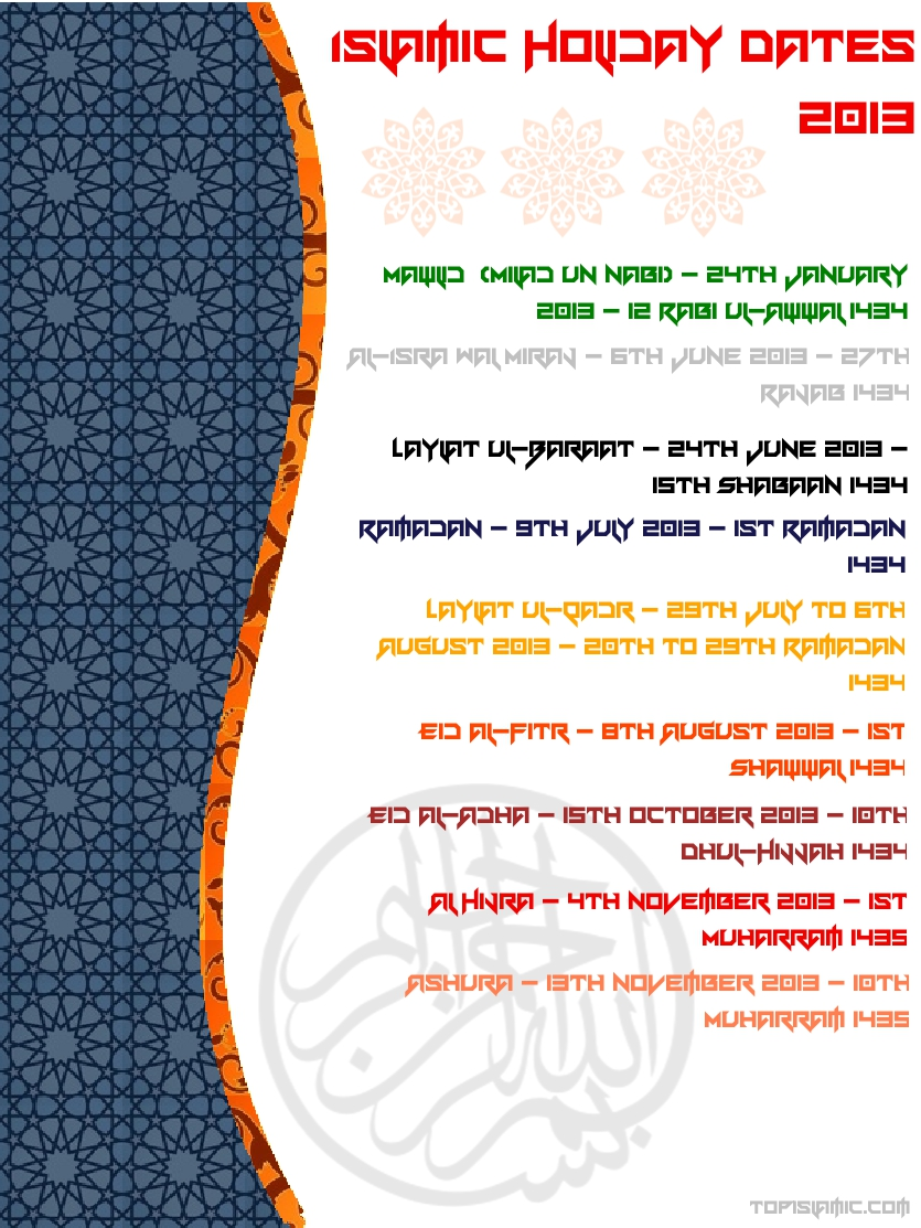muslim holidays and festivals 2013 poster