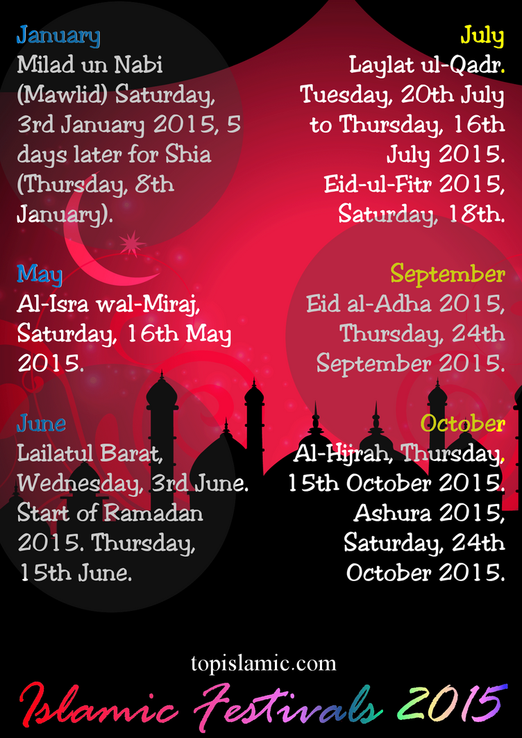 Islamic Festivals Celebrations 2015 by topmuslim