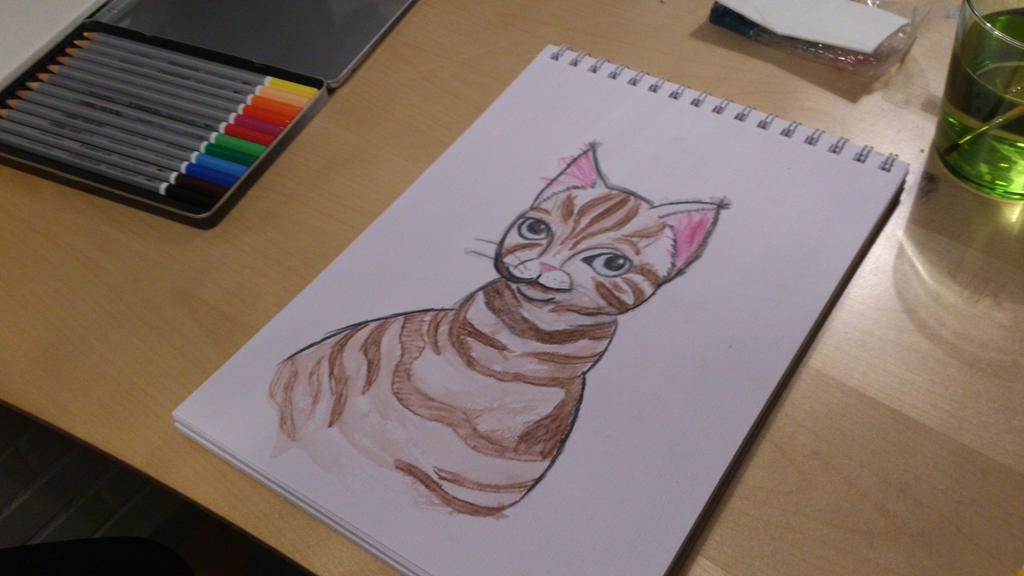 Watercolor cat. by Imaginarycupcake