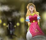 The Legend of Zelda avoiding Dark Link.