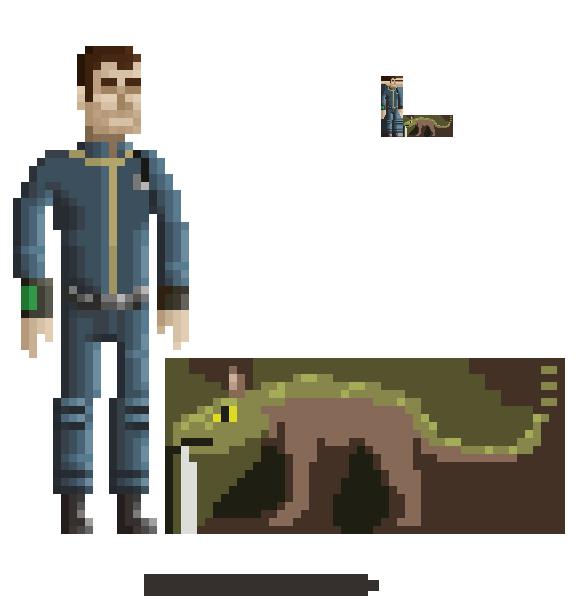 Character Design Pixel Art : Fallout character pixel art by gothaam on deviantart