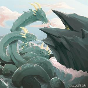 hydra by the sea by eli-skytail