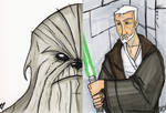 Chewie and Obi wan Sketch Card