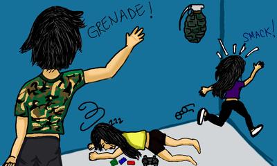Grenade gameover! (quick art) by InsanieJanie808