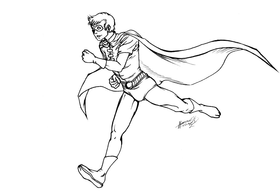 Robin: See Robin Run LINEART by kay-sama