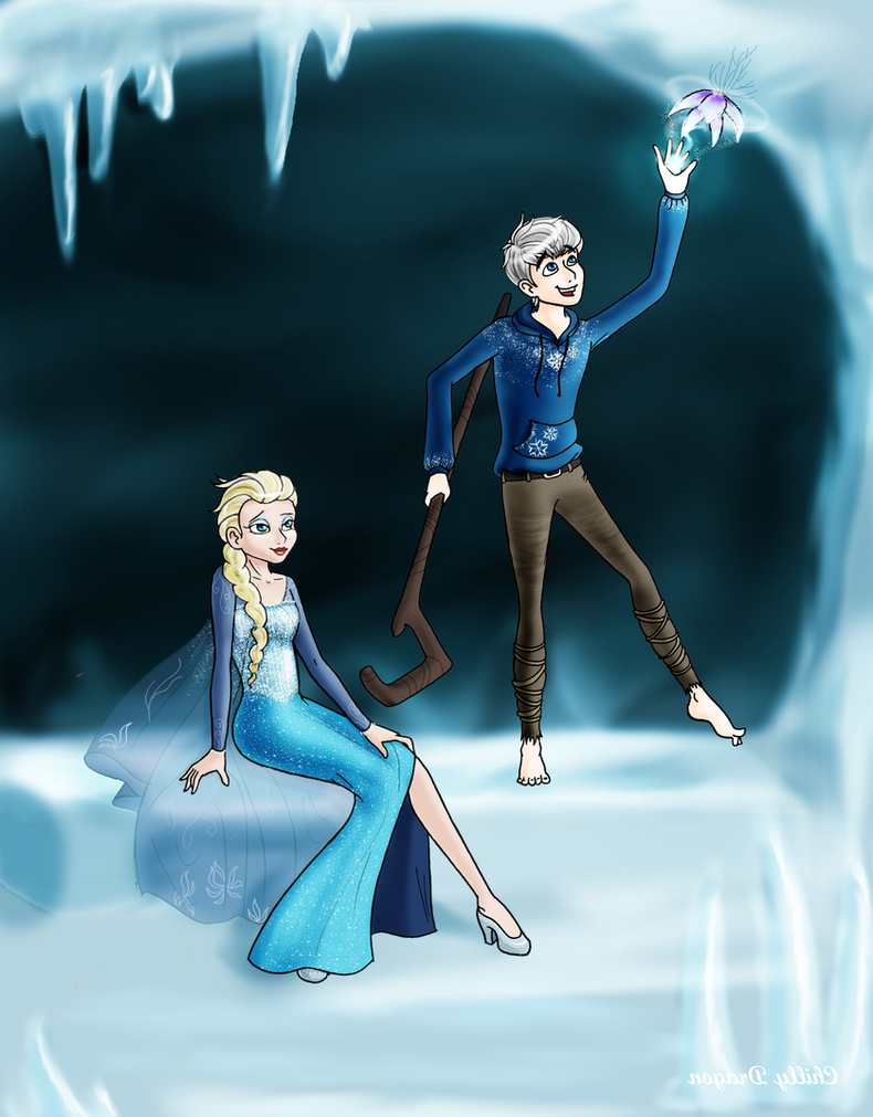 Elsa x Jack Frost (edited) by chillydragon