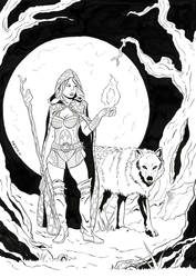 Druid Woman with Wolf