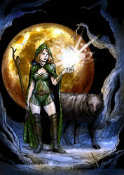 Druid Woman with Wolf - Color