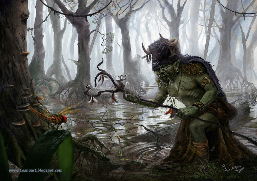 Orc Shaman DD art test by 1oshuart