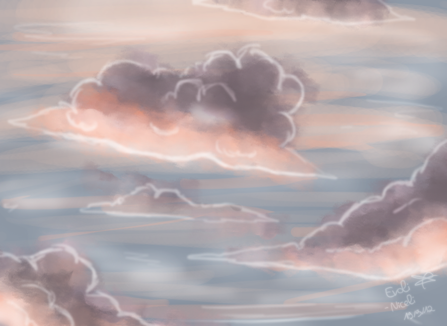 how to draw sunset clouds