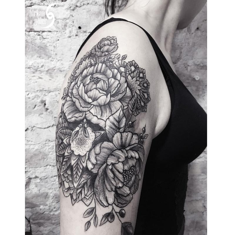 mandala rose flower tattoo by birkanguler