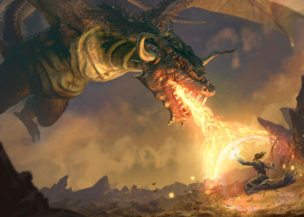 Dragon vs brave Mage by 0oki