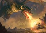 Dragon vs brave Mage