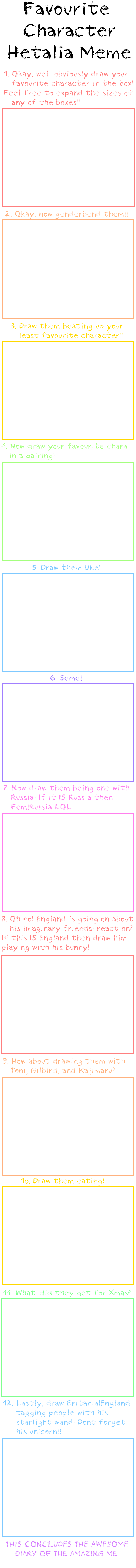 Favourite Hetalia Chara Meme by xXimmaeatjooXx