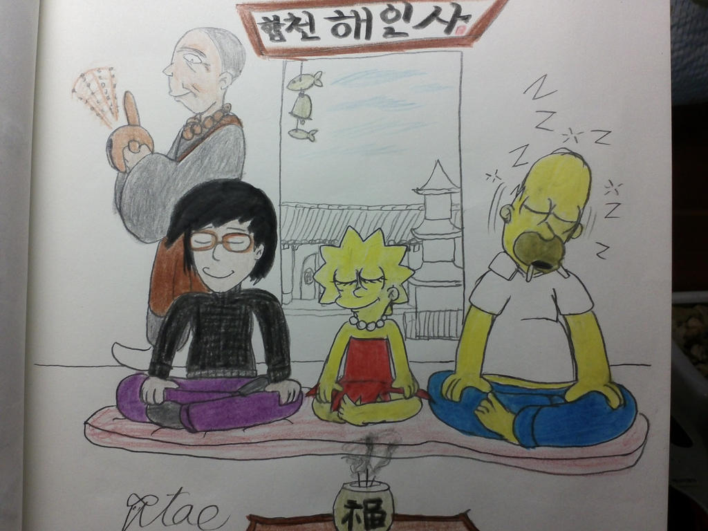 The simpsons:Temple stay with Lisa and Homer. by komi114