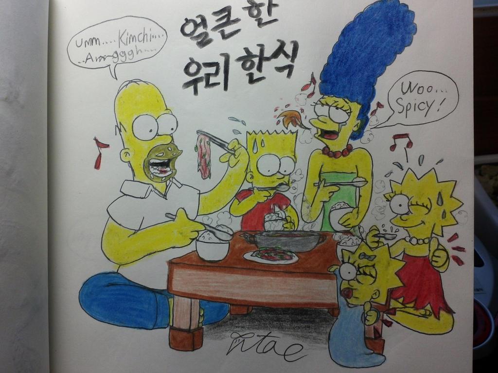 The simpsons:Enjoying the Korean food. by komi114