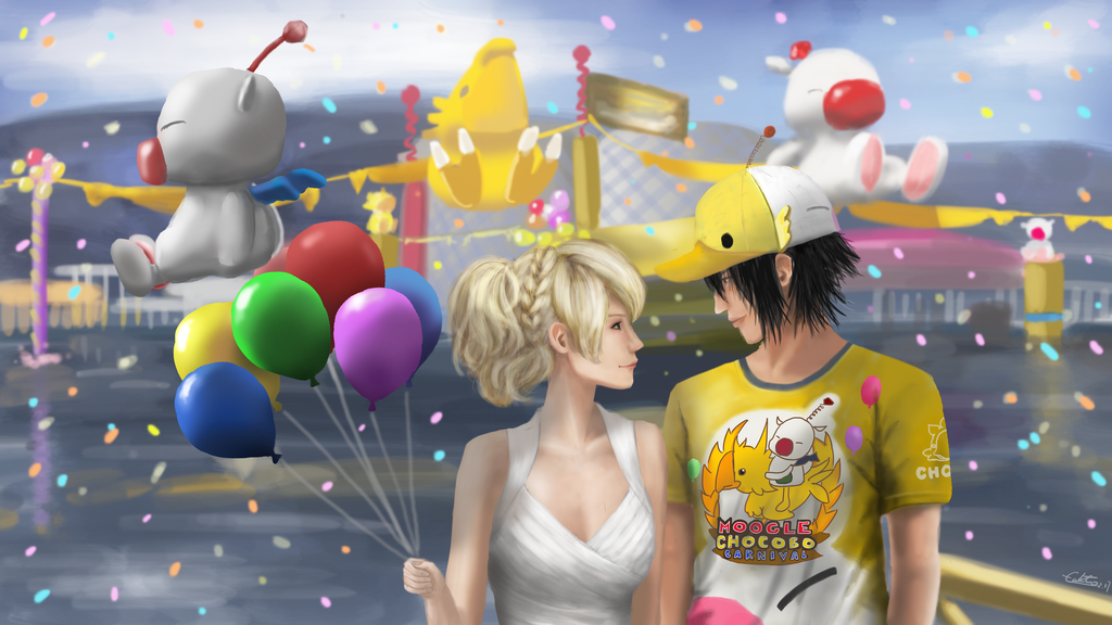 Luna and Noctis at the Moogle Choboco Carnival by Lukto