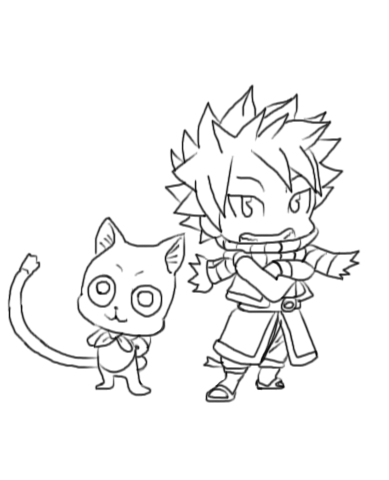 Chibi Natsu n Happy Fairy Tail line art uncolored by ...