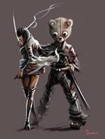 Lady Sio and Kuma by mansarali