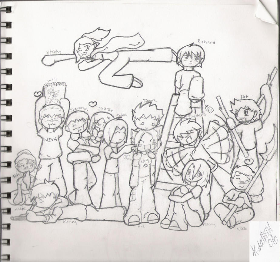 Friends Group Animated Group of Chibi Friends Group