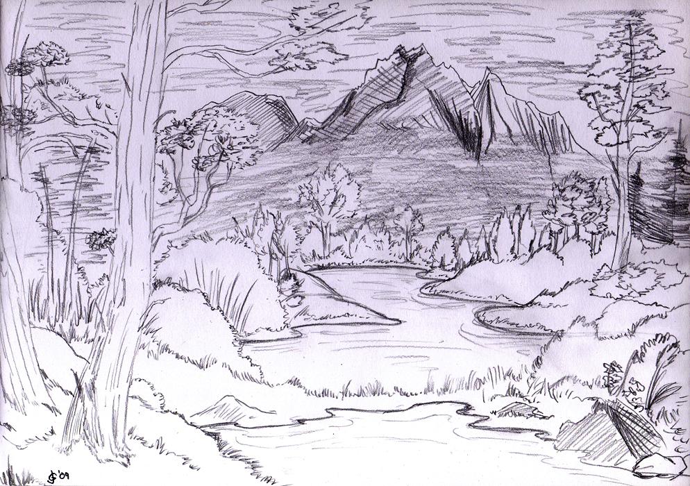 Landscape Sketch By JG Riddle