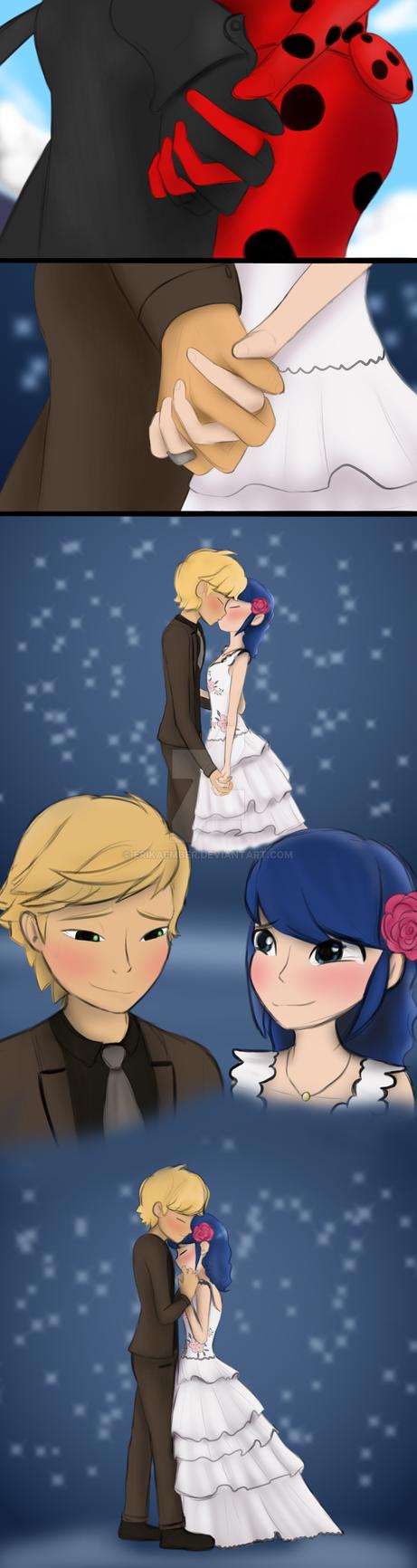 (ML OBLIVIO SPOILER) LadyNoir kiss scene redrawn by ErikaEmber