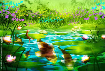 Lotus pond - Day version by MCilustracion