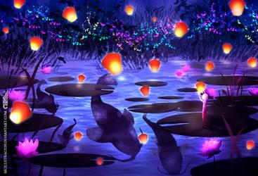 Lotus pond - Night version by MCilustracion