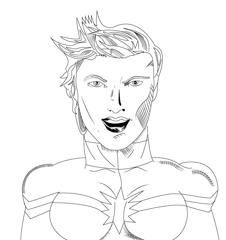 Line Art Marvel : Captain marvel aka carol danvers line art by