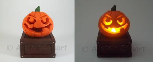 Glowing Polymer Clay Pumpkin by Alistu