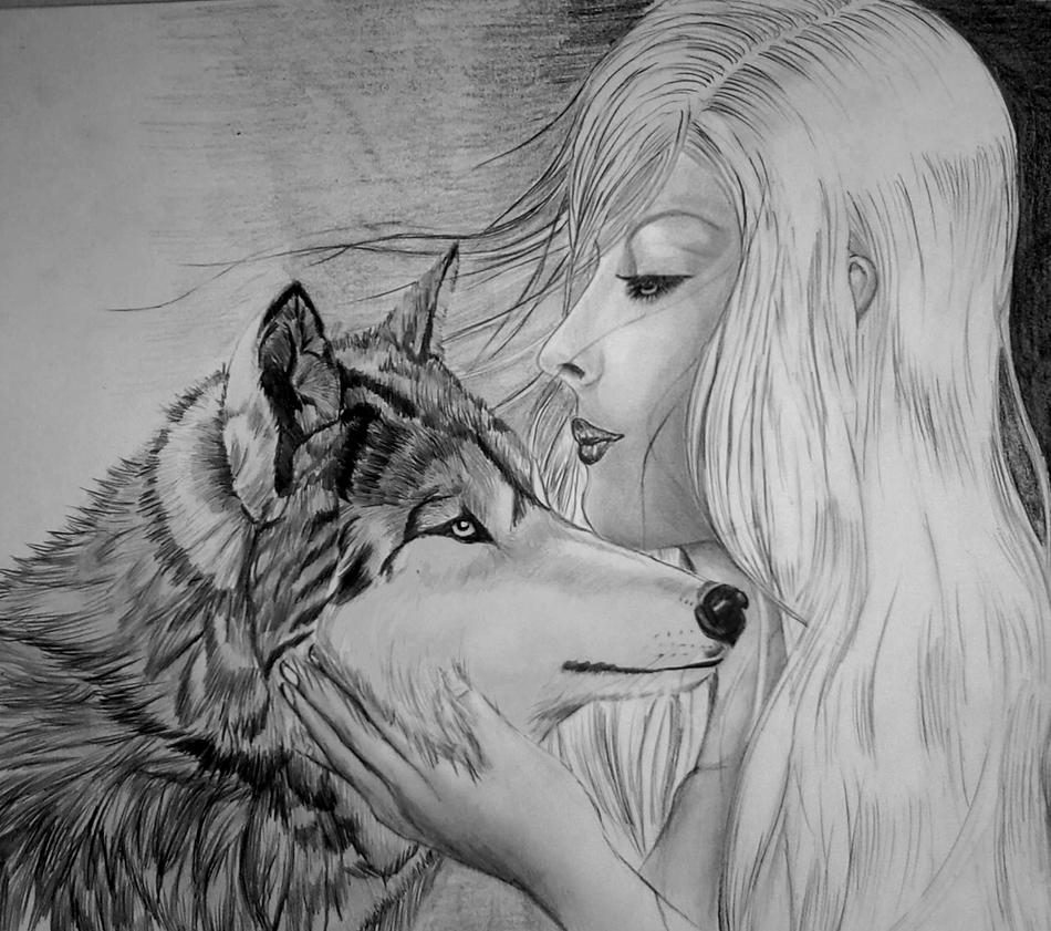 Wolves Girls And Wolf Girl: Girl Wolf Drawing